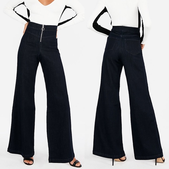 0381d303dc8 NWT  EXPRESS  Super High Rise Wide Leg Jeans